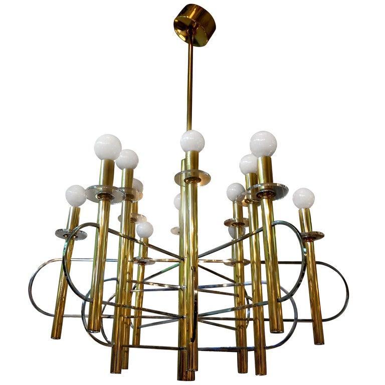 Italian Gaetano Sciolari Brass and Chrome Chandelier For Sale 4