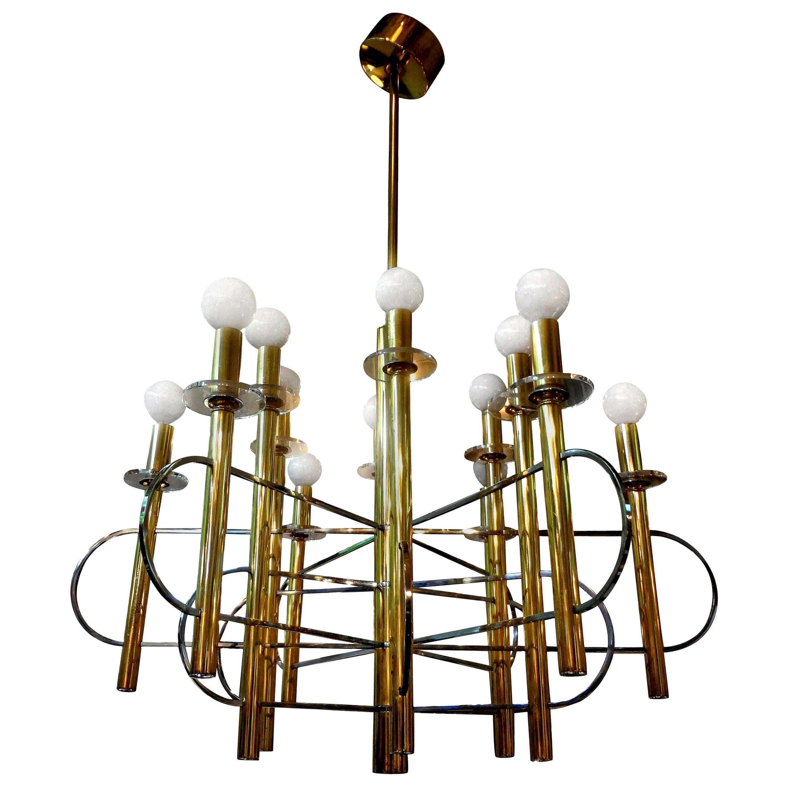 Italian Gaetano Sciolari Brass and Chrome Chandelier