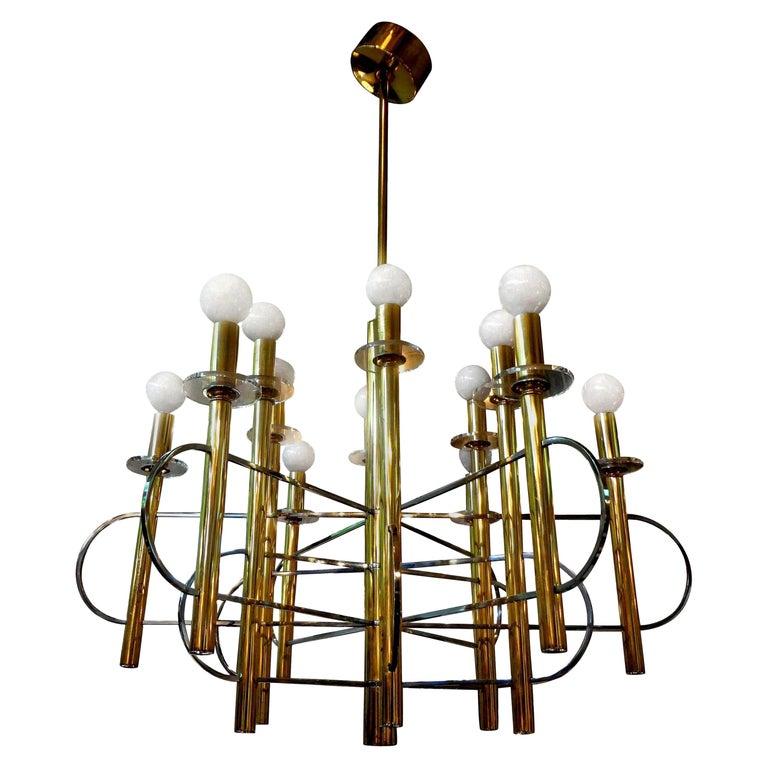 Italian Gaetano Sciolari Brass and Chrome Chandelier For Sale