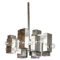 Italian Gaetano Sciolari Brutalist Chrome and Lucite Geometric Chandelier
