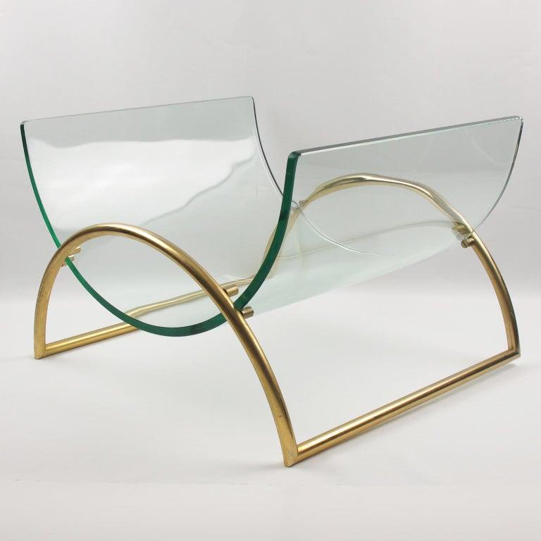 Modern Italian Gallotti & Radice 1970s Curved Glass Gilt Aluminum Magazine Rack Holder For Sale