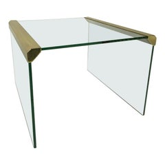 Italian, Gallotti & Radice Sidetable, Brass and Glass, 80's