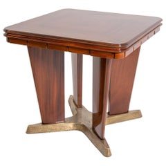 Italian Game Table by Giorgio Ramponi in Walnut and Brass, 1950s