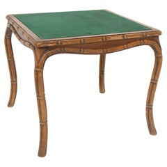 Italian Game Table in Faux Bamboo by Giorgetti and Green Fabric