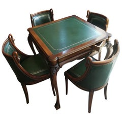 Rare Italian Games Table Set with Four Chairs , Circa 1950