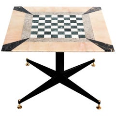 Italian Gaming or Chess Side Table in Marble Mosaic with Brass Tips, 1950s