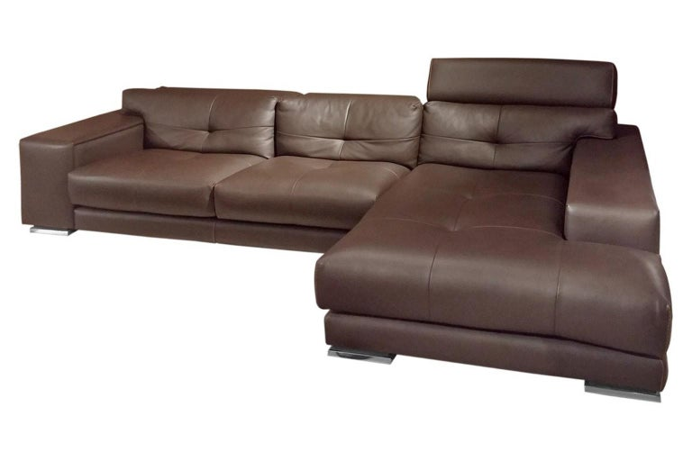 Italian Gamma Soleado Dark Brown Leather Sectional Sofa Chaise For ...