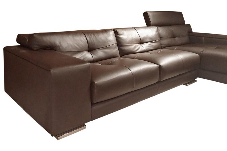 Italian Gamma Soleado Dark Brown Leather Sectional Sofa Chaise