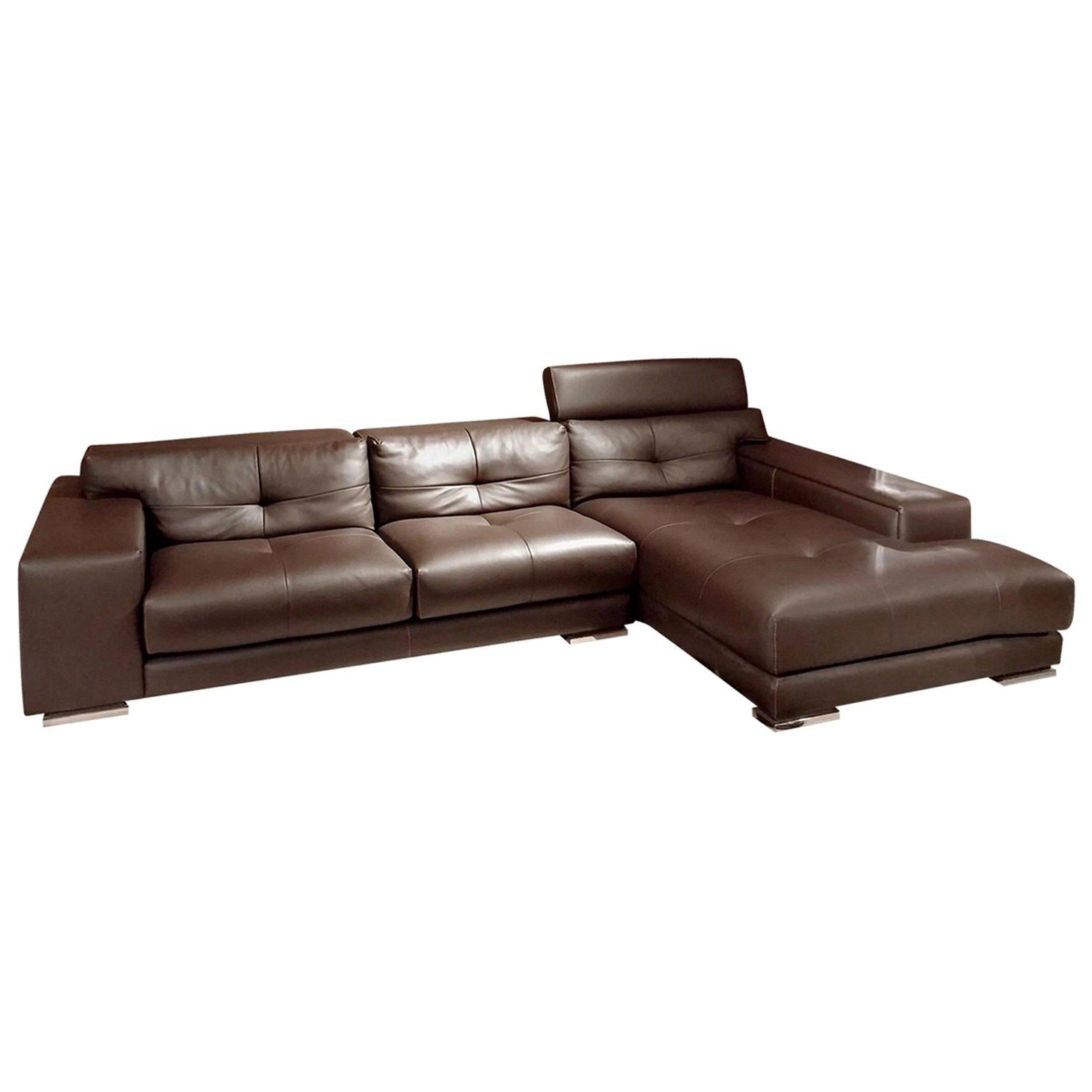 Italian Gamma Soleado Dark Brown Leather Sectional Sofa Chaise