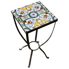Italian Garden Hand Painted Tile and Metal Plant Stand/Drink Table