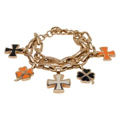 Italian Gavello Bracelet with Enameled Maltese Crosses and Clover-Leaf Charms