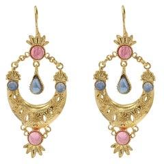 Italian Gemstone Vermeil Dangle Earrings