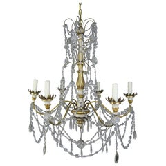 Italian Geneviere Style Giltwood and Crystal Chandelier, circa 1900s