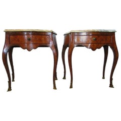 Italian, Genova Pair of 1960s Marquetry Inlay Bed Tables Calacatta Gold Marble