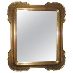 Italian, Genovese Etched Gold Leaf Mirror with Original Mercury Glass