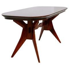 Italian Geometric Dining Table in Wood School of Turin, 1950s