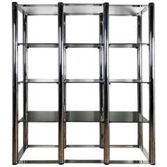 Italian Geometrical Vintage Smoked Glass Steel Structure Bookcase, 1970s