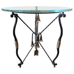Italian Giacometti Inspired Iron and Brass Table with Glass Top