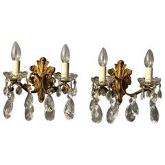 Italian Gilded and Crystal Twin Arm Antique Wall Lights