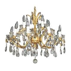 Italian Gilded Bronze 2-Tier 15-Light Crystal Chandelier