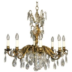 Italian Gilded Bronze 8-Light Antique Chandelier