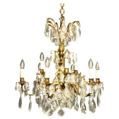 Italian Gilded Bronze and Crystal 12 Light Antique Chandelier