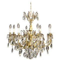 Italian Gilded Bronze and Crystal 8-Light Antique Chandelier