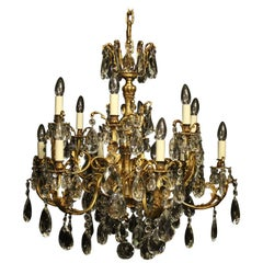 Italian Gilded Bronze and Crystal 12-Light Antique Chandelier