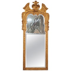Italian Gilded Carved Venetian Etched Glass Wall Mirror, circa 1930