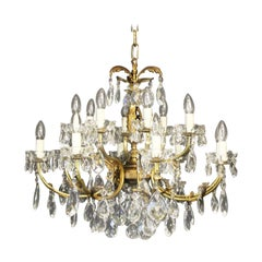 Italian Gilded and Crystal 16-Light Antique Chandelier
