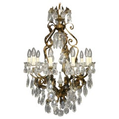 Italian Gilded and Crystal Bird Cage Antique Chandelier