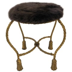Italian Gilded Faux Rope with Tassels Vanity Stool
