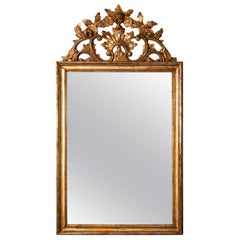 Italian Gilded Mirror with Carved Crest
