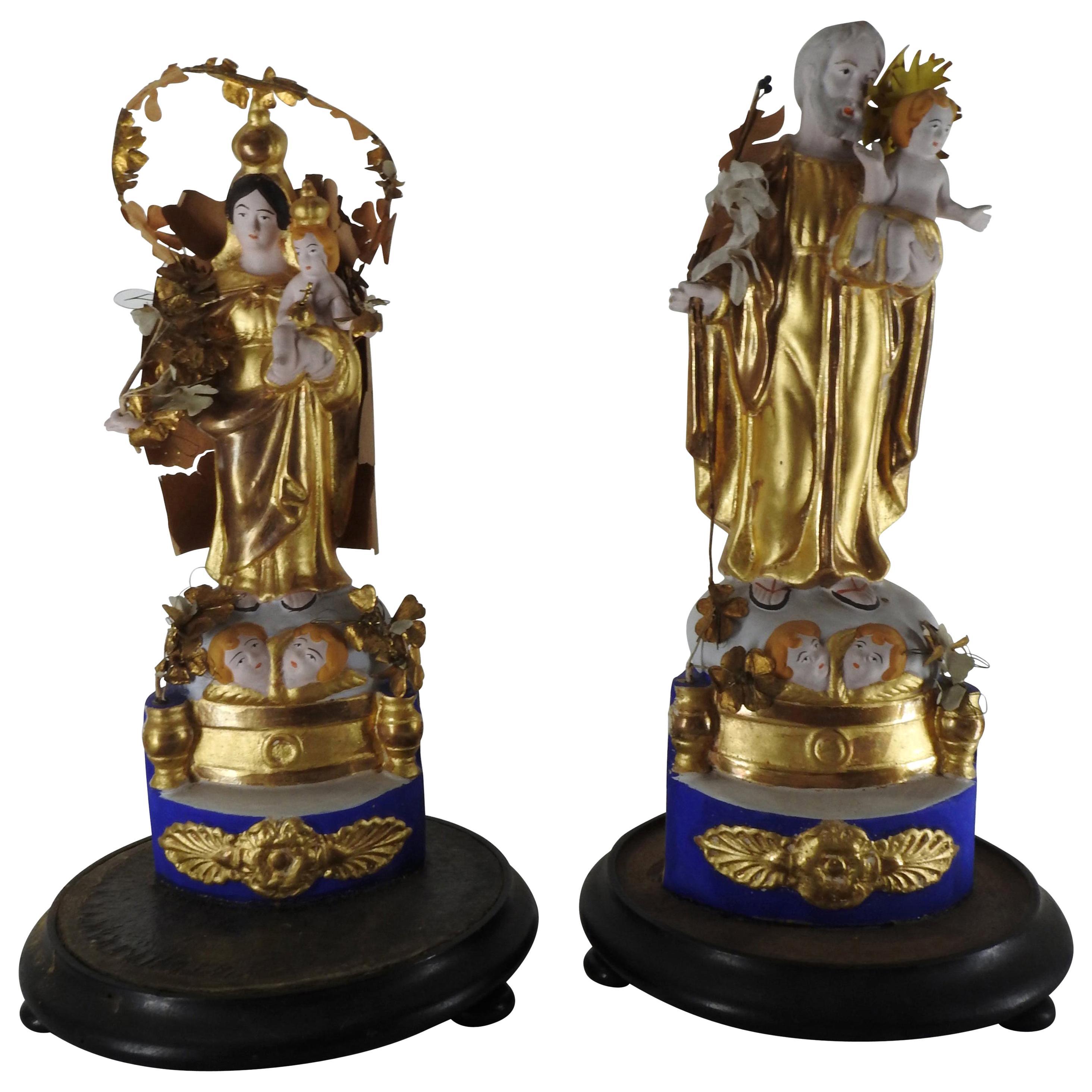Italian Gilded Religious Sculptures