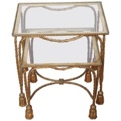 Italian Gilded Rope and Tassel Stacking Tables