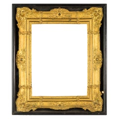 Italian Gilded Sheet Metal Frame in Display Case, Italy 19th Century Rome Empire