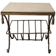 Italian Gilded Side Table with Marble Top and Magazine Rack