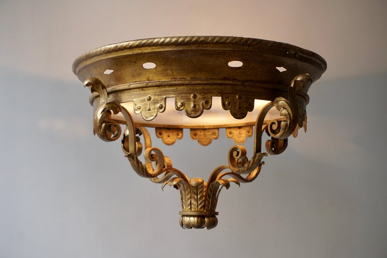 Italian Gilt and Satin Glass Flush Mount Light For Sale 4