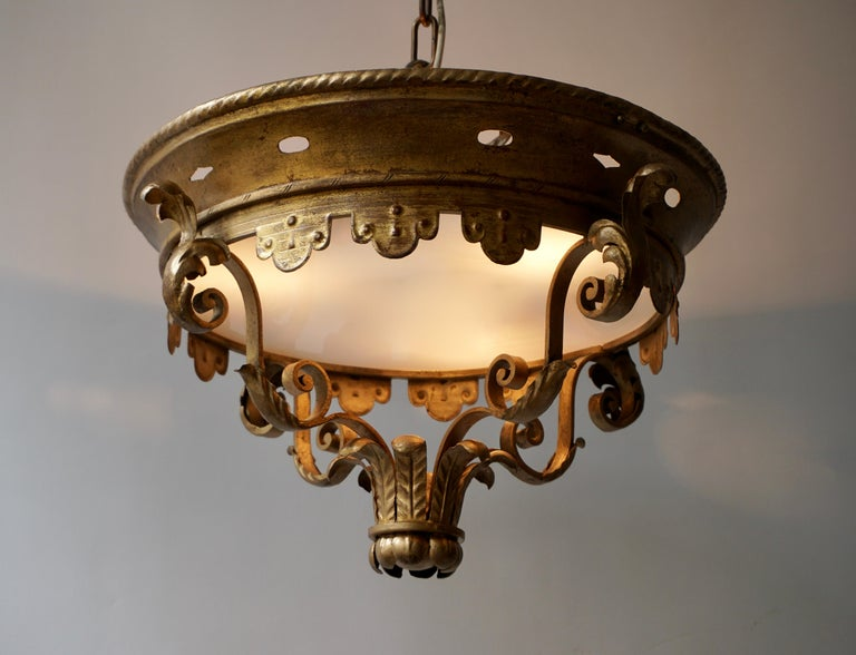 Hollywood Regency Italian Gilt and Satin Glass Flush Mount Light For Sale