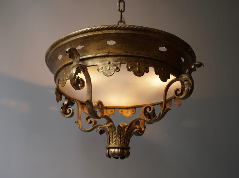 20th Century Italian Gilt and Satin Glass Flush Mount Light For Sale