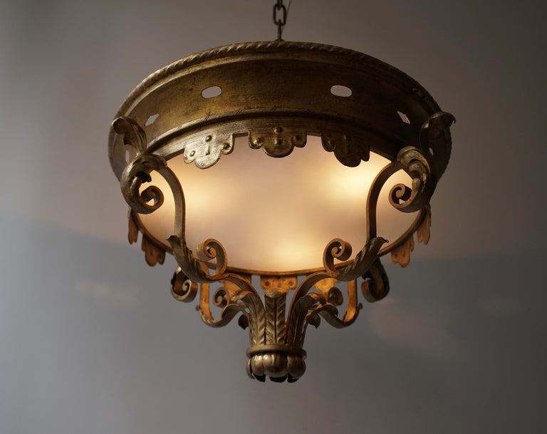 Italian Gilt and Satin Glass Flush Mount Light For Sale 2