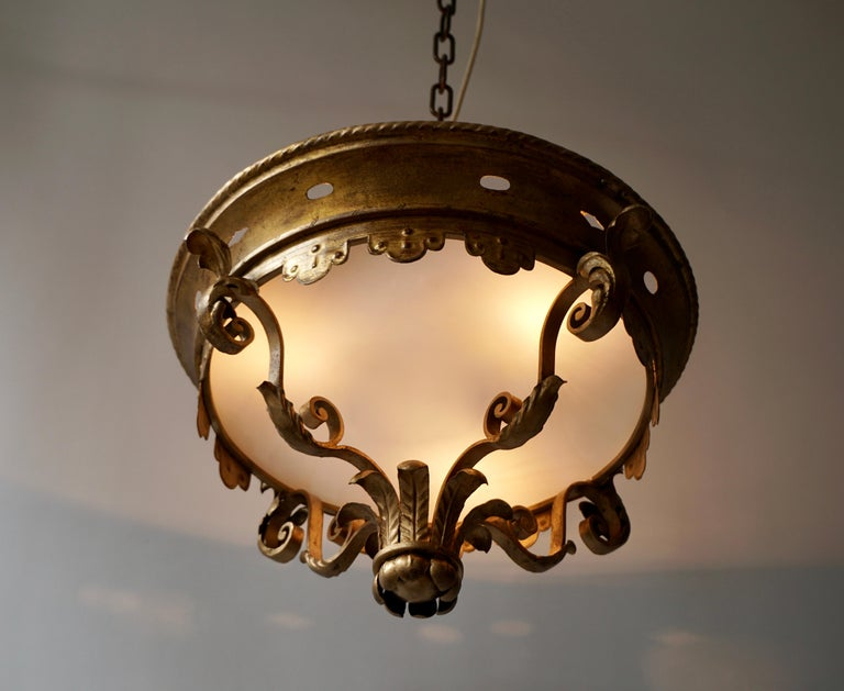 Italian Gilt and Satin Glass Flush Mount Light For Sale 3