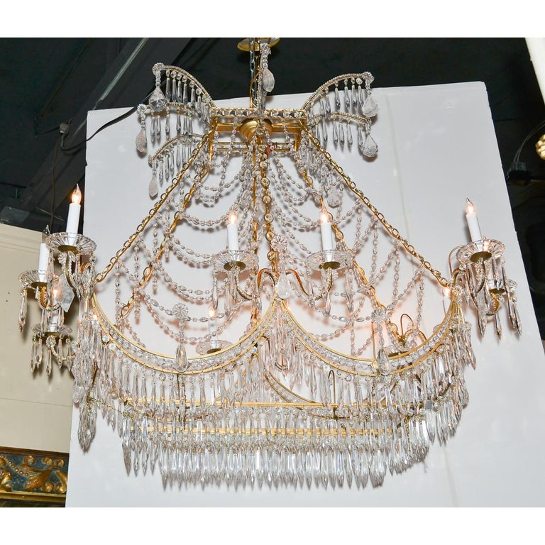 Contemporary Italian Gilt Brass and Crystal Elongated Chandelier For Sale