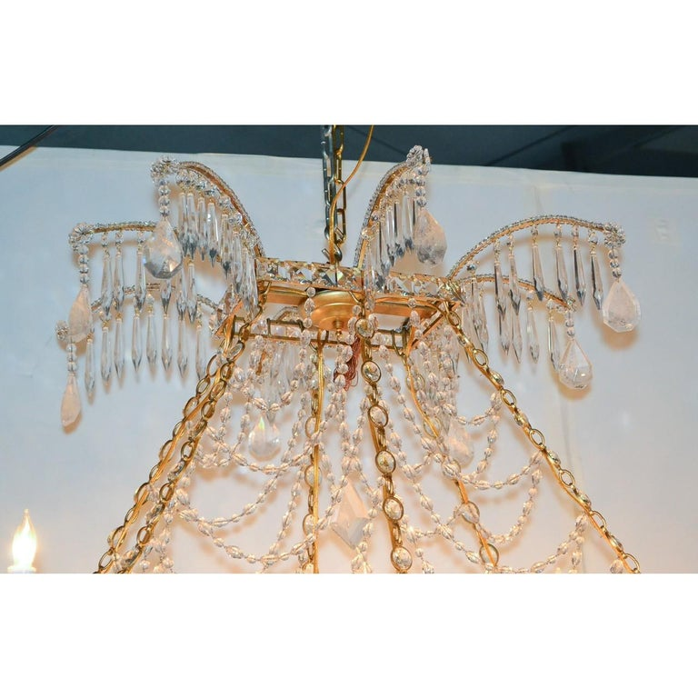 Italian Gilt Brass and Crystal Elongated Chandelier For Sale 1