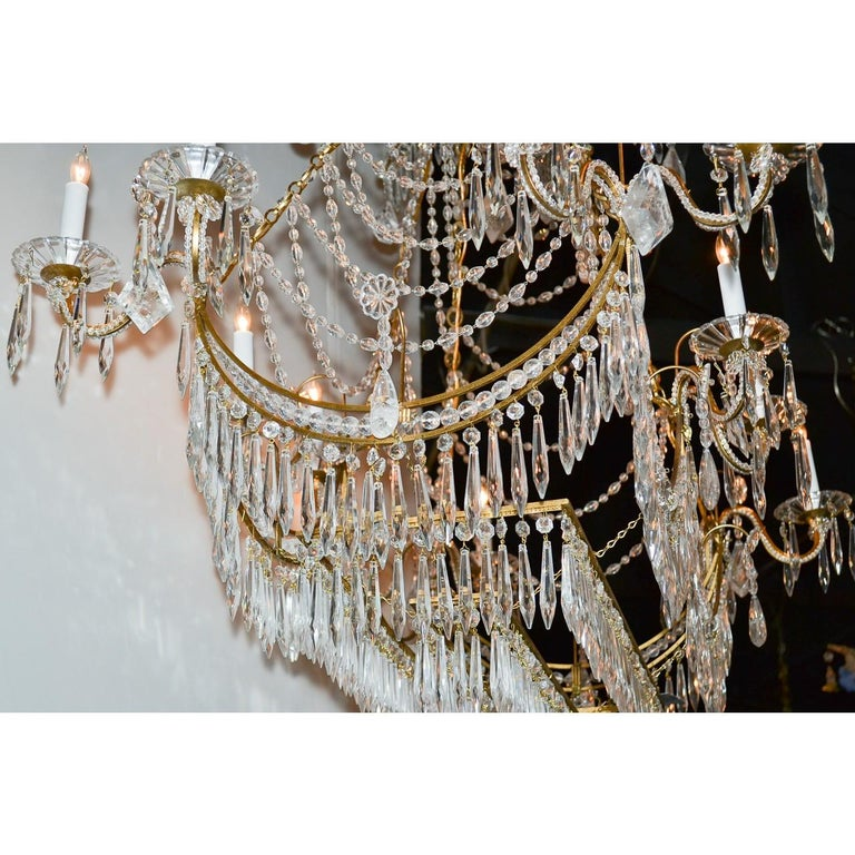 Italian Gilt Brass and Crystal Elongated Chandelier For Sale 3