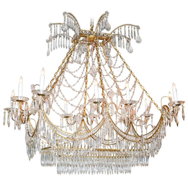 Italian Gilt Brass and Crystal Elongated Chandelier For Sale