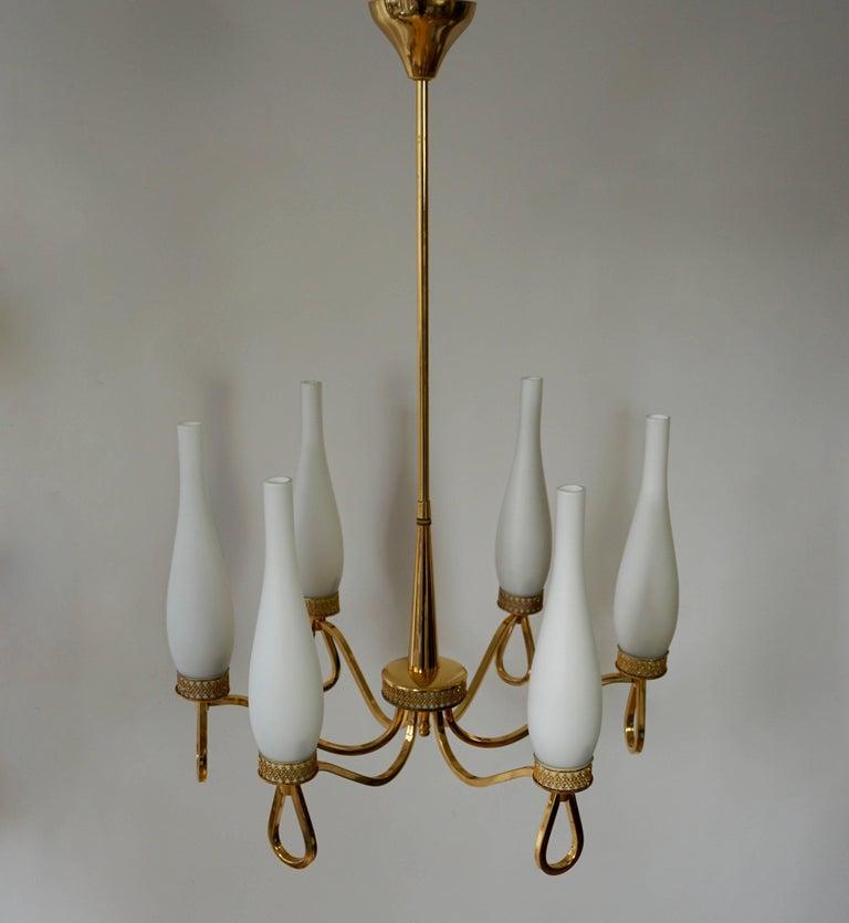 Mid-Century Modern Italian Gilt Brass and Glass Chandelier For Sale