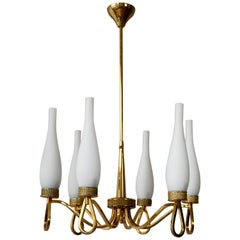 Italian Gilt Brass and Glass Chandelier