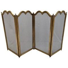Italian Gilt Brass Fireplace Screen or Fire Screen