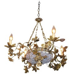 Italian Gilt Bronze and Crystal Chandelier